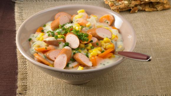 Möhren-Mais-Pfanne mit Würstchen Rezept