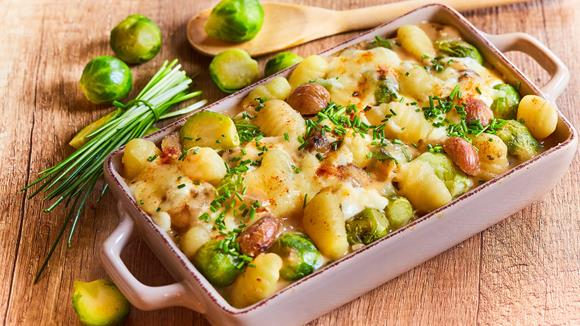 rosenkohl gnocchi gratin mit maronen rezept knorr. Black Bedroom Furniture Sets. Home Design Ideas