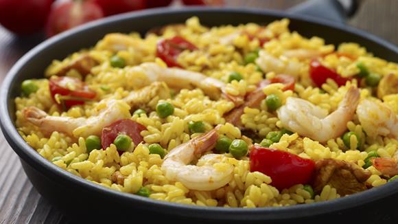 Paella mit Hähnchen und Shrimps Rezept