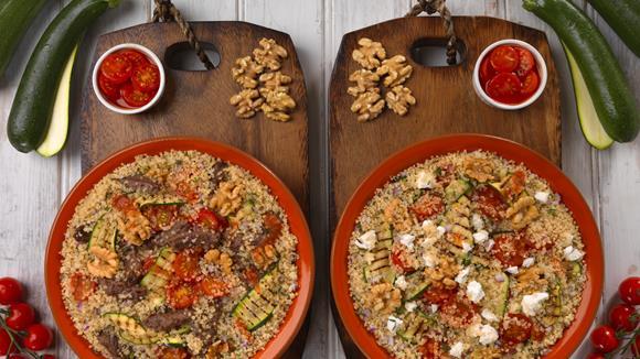 Quinoa mit gegrillter Zucchini und Rindfleisch