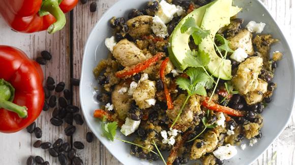 Amaranth mit Hähnchen und schwarzen Bohnen Rezept