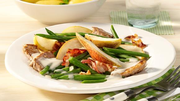 Birne, Bohnen und Speck mit Gorgonzolasauce Rezept