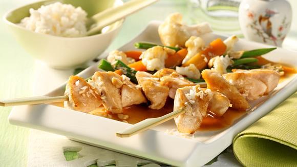 Hähnchenspieße mit Asia-Gemüse