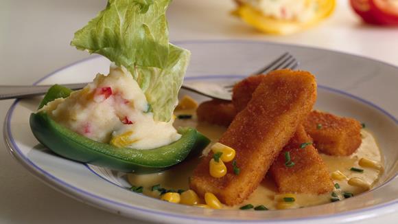 Fischstäbchen mit Maiscremesoße