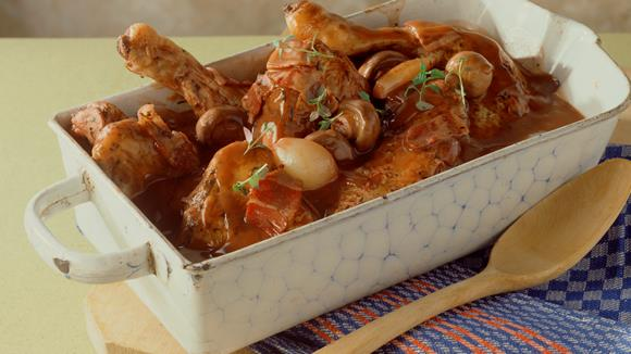 Hähnchen in Rotweinsauce Rezept