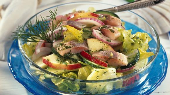 Matjessalat mit Dill-Kräuter-Dressing