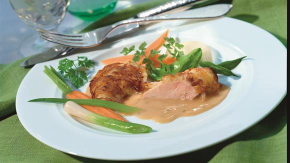 Überbackenes Hähnchen in Kartoffelhaube