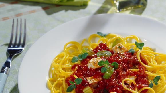 Spaghetti mit Tofu-Gemüsesauce Rezept