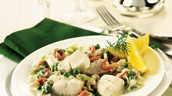 Fisch-Gemüsepfanne mit Reis