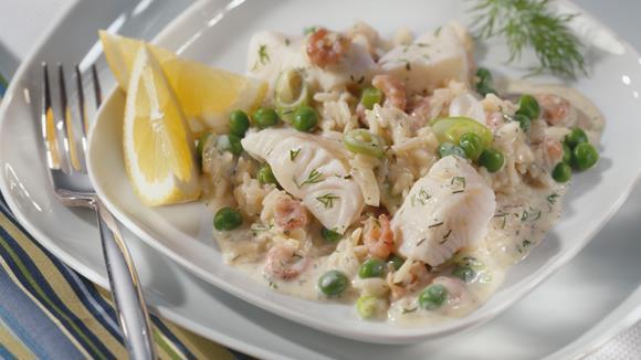 Gemüse-Fischpfanne mit Reis