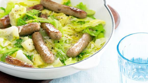 Bratwurst-Spitzkohl-Pfanne Rezept