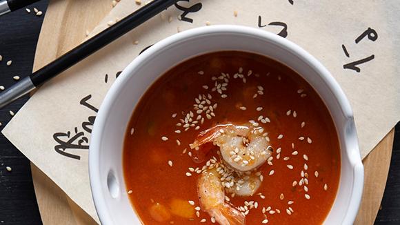 Γλυκόξινη σούπα με γαρίδες