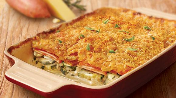 Sweet Potato & Zucchini Gratin