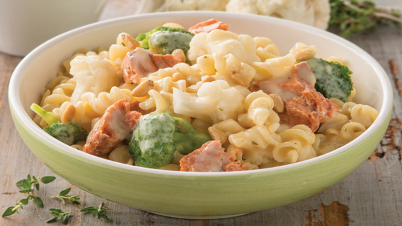 ... Recipes Four Cheeses Pasta Recipe with Salmon, Cauliflower & Pine Nuts