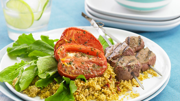 Beef kebabs with Mediterranean Couscous & Roasted Tomatoes