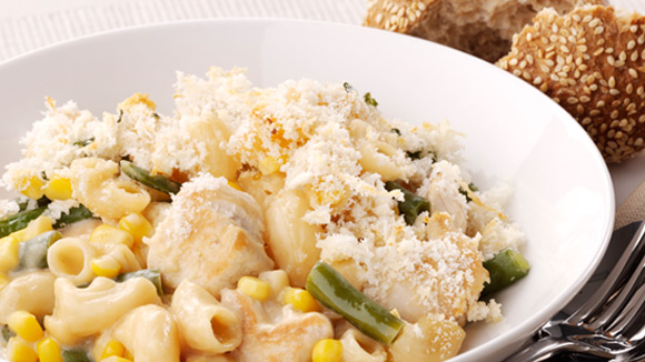 Chicken & Corn Cheesy Macaroni Bake