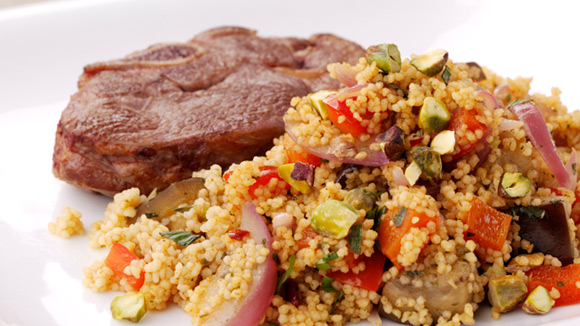 Grilled Lamb Chops with Mediterranean Couscous