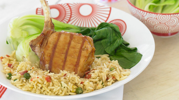 Oriental Rice with Greens & Sticky Pork