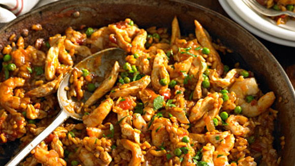 Prawn Chicken & Pea Paella