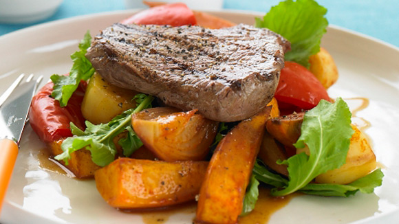 Roasted Spring Vegetables Salad with Barbecue Beef Steaks