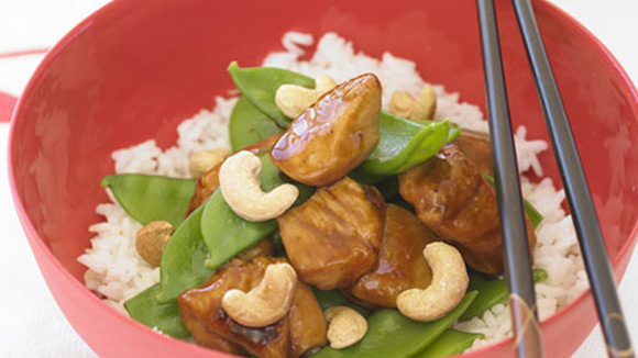 Honey Soy Chicken with Peas & Cashews