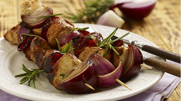 Turkey, Chorizo and Mushroom Skewers
