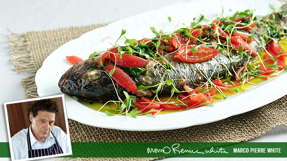 Whole Sea Bass with herbs