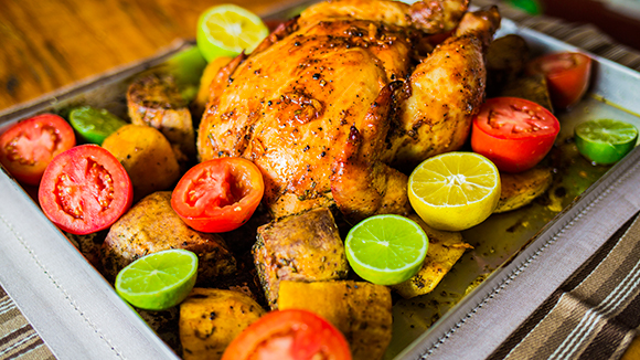 Golden Whole Roast Chicken