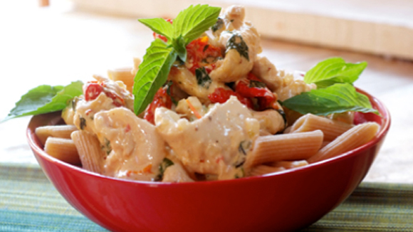 Pasta with chicken, tomatoes, cream & mustard recipe