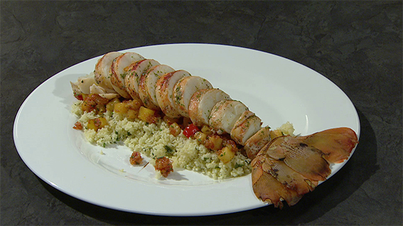 Poached Lobster with Pineapple and Bell Pepper Compote and steamed Coriander Couscous
