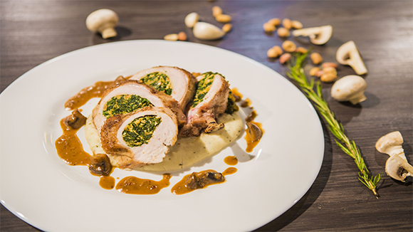 Spinach and Ricotto Chicken Breast with creamy ugali and mushroom sauce