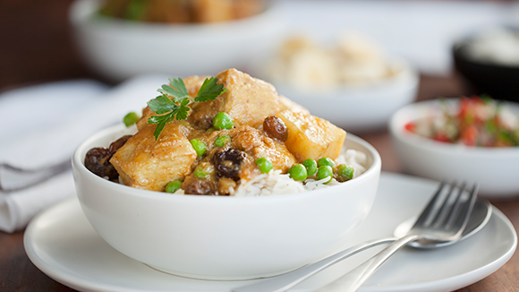 Durban chicken curry with potatoes and peas recipe