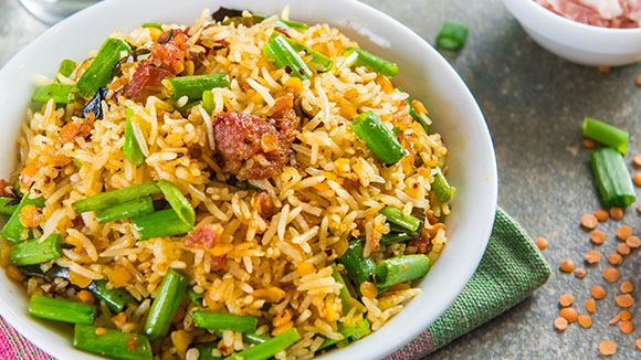 Savoury Bacon and Dhal Rice