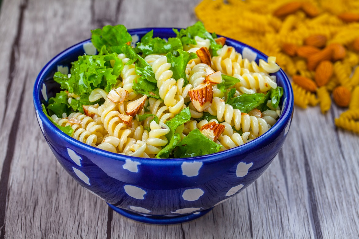 Cheese and almond pasta salad