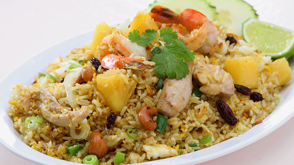 Hawaiian Chicken and Prawn Fried Rice