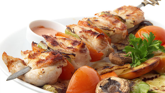 Honey Glazed Grilled Chilli Prawns and Vegetable Kebab