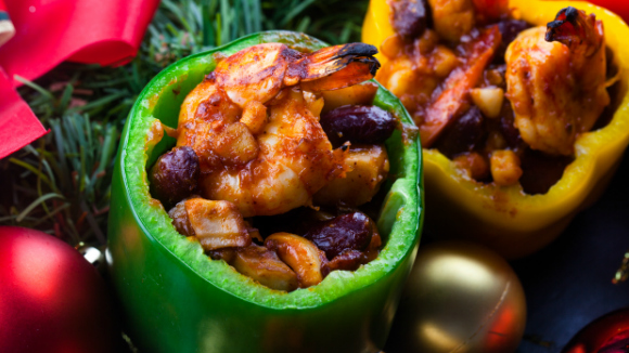 Seafood Chili Bean stuffed peppers