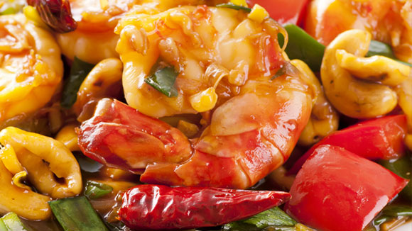 Sweet & Sour Prawns with Mushrooms and Roasted Cashew Nuts