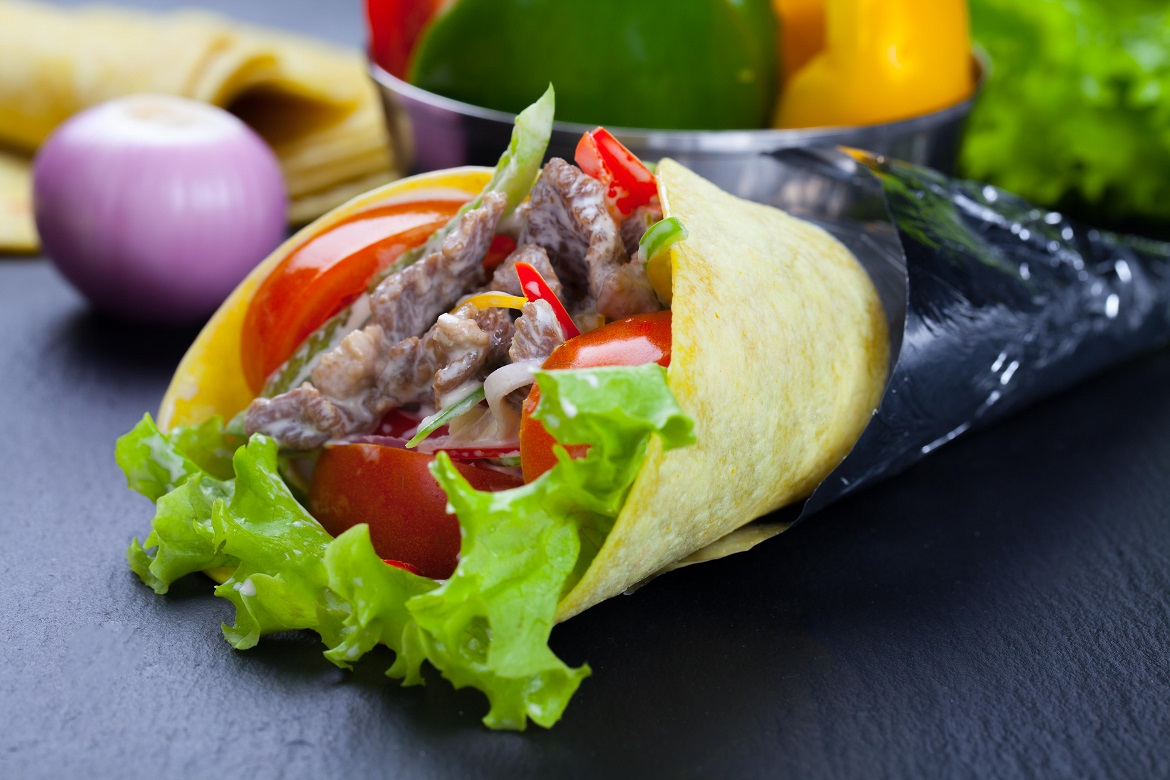 Tortilla cones with beef filling