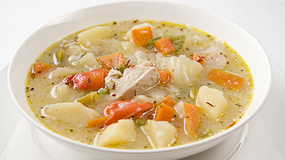White chicken broth