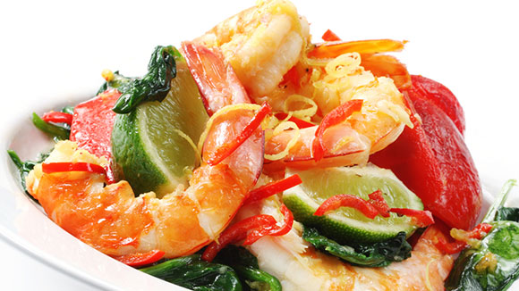 Wok Fried Chilli Prawns with Basil and Spinach