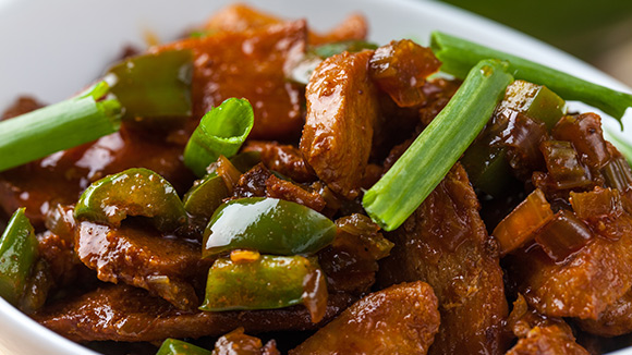 Brown Dry Chicken Fry with Greens