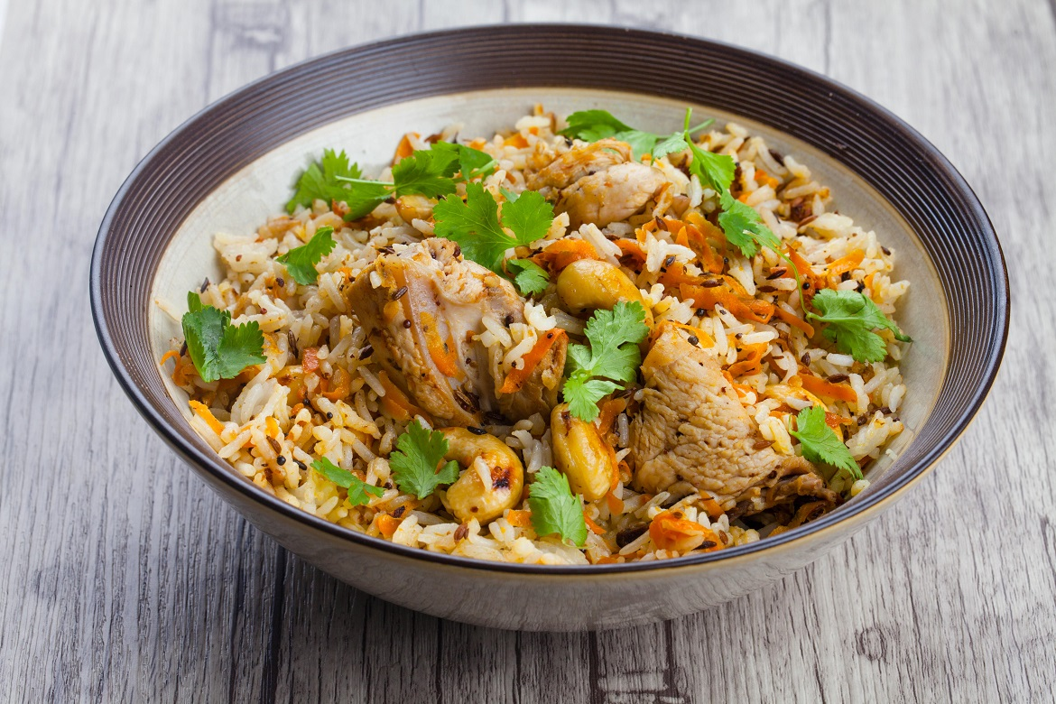 Chicken, carrot and nut pilaf