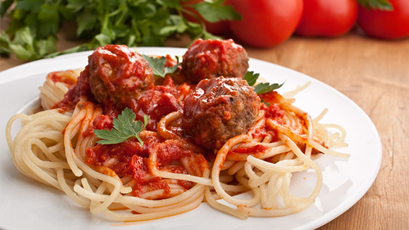 Meatball Kuruma and Buttered Spaghetti