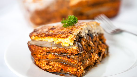 Cheesy beef and eggplant moussaka