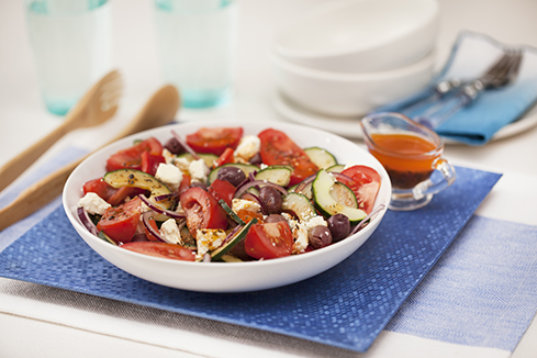 Classic greek salad with lemon and herb dressing