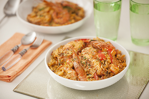 Jollof rice with chopped fish and seafood