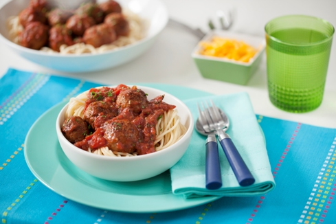 Meatballs in spicy tomato sauce with spaghetti