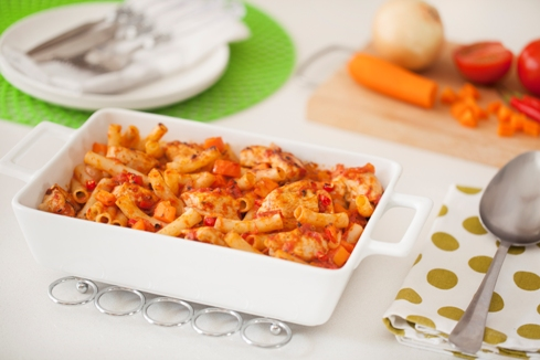 Pasta Noodle bake with Chicken and carrots