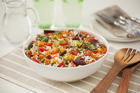 Rice salad with roasted vegetables